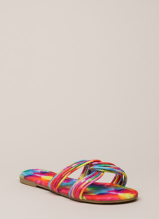 Loop Dreams Strappy Rainbow Sandals