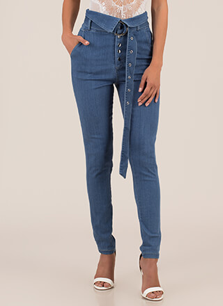 Fold Up Belted High-Waisted Skinny Jeans