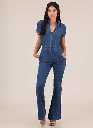 Retro Flare Denim Bell-Bottom Jumpsuit