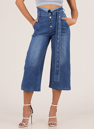 Fold Up Belted Cropped Wide-Leg Jeans
