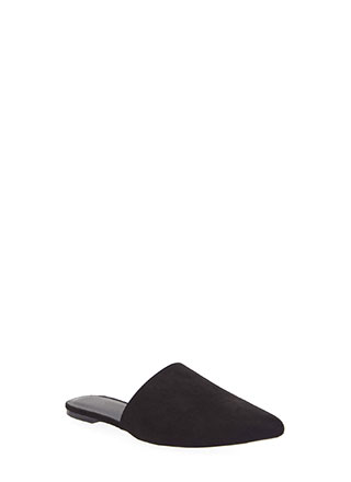 Point Of No Return Faux Suede Mule Flats