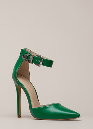 Western Coast Pointy Ankle Strap Heels