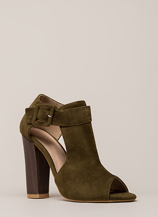 Style Star Chunky Cut-Out Velvet Heels