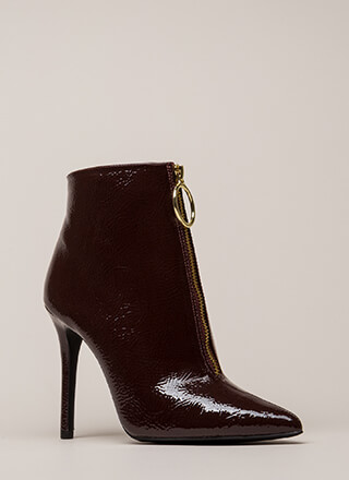 Let it Ring Faux Patent Zip-Up Booties