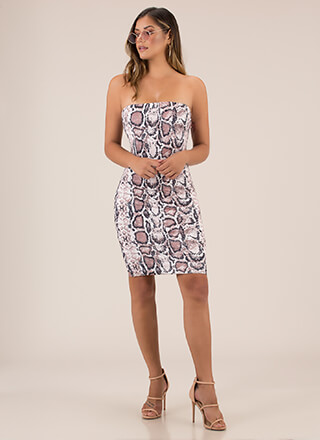 Play The Scales Snake Print Tube Dress