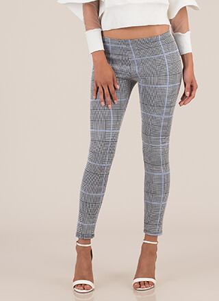Perfect In Plaid Low-Rise Skinny Pants