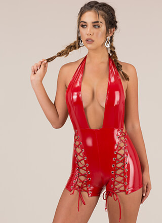 Leather And Laces Plunging Halter Romper