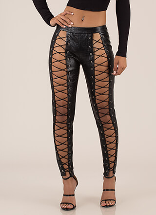 Cold-Blooded Animal Laced Cut-Out Pants