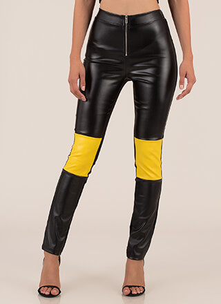 More Moto Faux Leather Skinny Pants