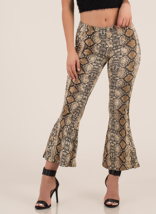 Sexy Slither Snake Print Bell-Bottoms