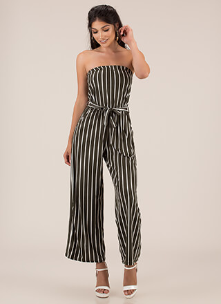 Favorite Sun Strapless Striped Jumpsuit