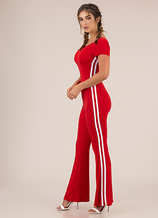 Good Sport Striped Flare-Leg Jumpsuit