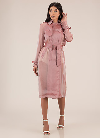 New Classic Sheer Belted Trench Coat