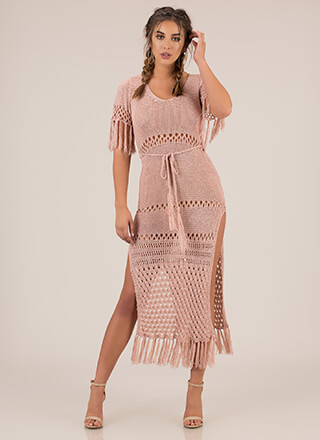 Festival Of Fringe Crochet Maxi Dress