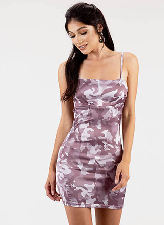 Take Command Satin Camo Minidress