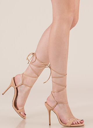 Tying To Know Strappy Lace-Up Heels