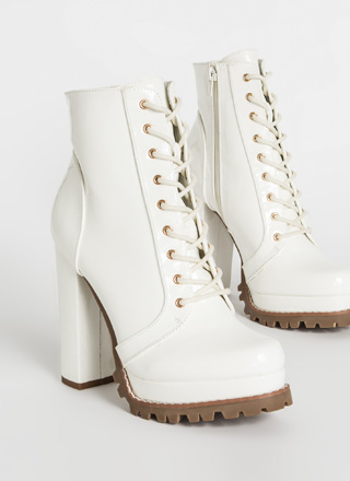 Perfect Platform Faux Patent Lug Booties