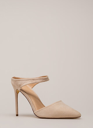 Low Profile Pointy Faux Suede Heels
