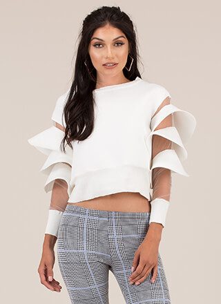 Sheer Drama Ruffle Sleeve Sweatshirt