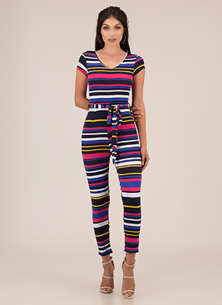 Stripe For Your Right Belted Jumpsuit