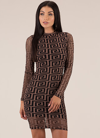 Greek Key Figure Layered Mesh Dress