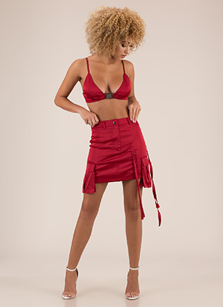 Hot Cargo Satin Bra Top And Skirt Set