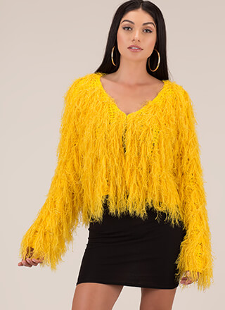 Fuzz-Worthy Feathery Knit Cardigan
