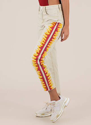 Feed The Fire Cropped High-Waisted Jeans