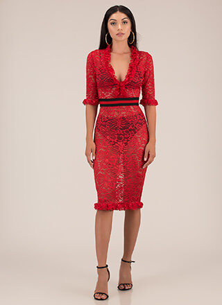 Waist Not Want Not Ruffled Lace Dress