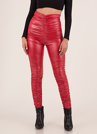 Ruche Order High-Waisted Leggings