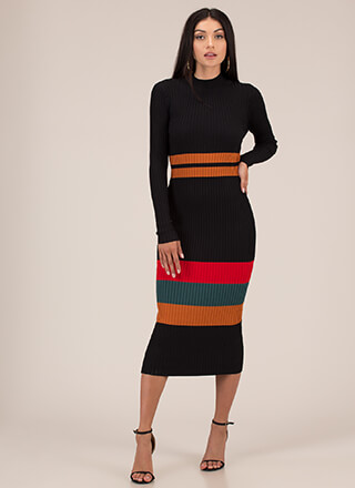 Seductive Stripes Rib Knit Midi Dress