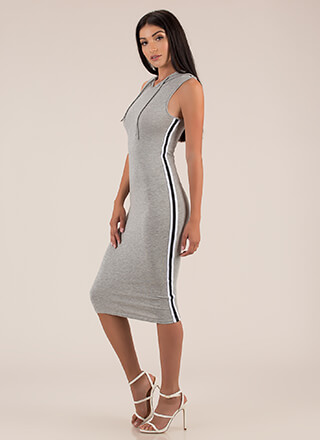 Keep It Casual Hooded Striped Dress