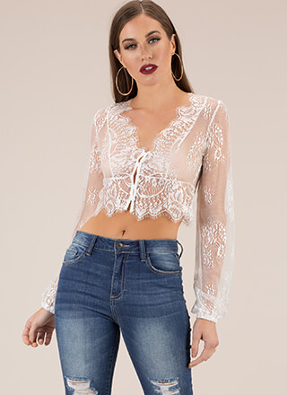 Loveliest Lace Button-Up Crop Top