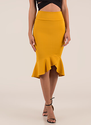 Ladies First Ruffled Midi Skirt