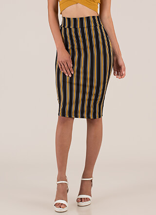 Sexy Stripes High-Waisted Pencil Skirt