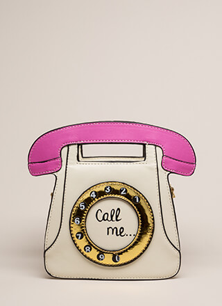Call Me Rotary Phone Novelty Clutch