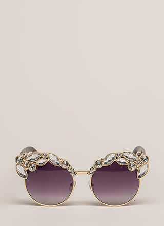 Sparkling Eyes Jeweled Round Sunglasses