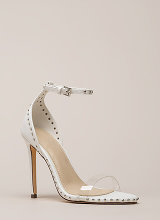 Clearly Stated Studded Ankle Strap Heels