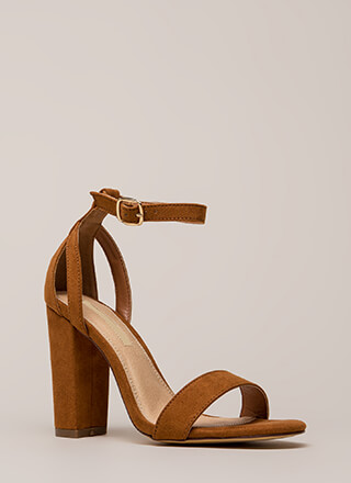 Strap To It Faux Suede Chunky Heels