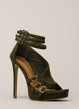 Straps And Buckles Velvet Platforms