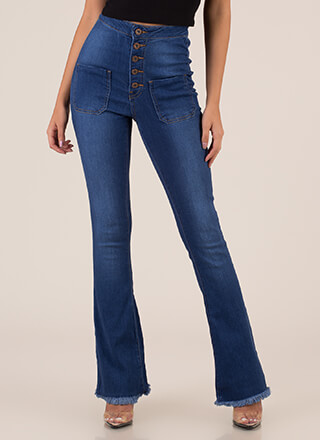 Retro Flare Fringed High-Waisted Jeans