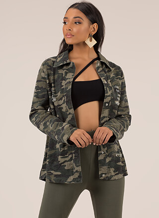 Distressed Call Camo Print Jacket
