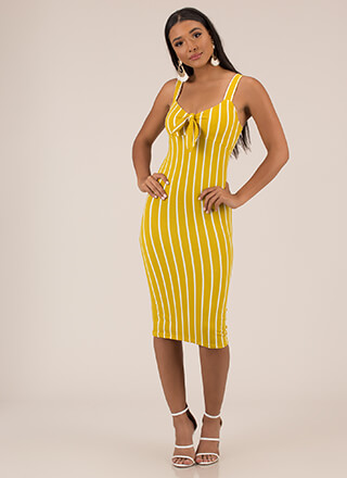 Perfected Knotted Pinstriped Dress
