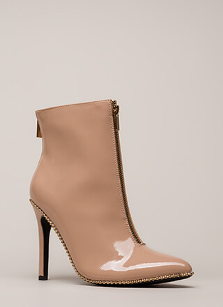 Stunned Studded Faux Patent Booties
