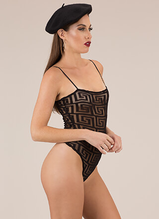 Upward Spiral Greek Key Mesh Bodysuit
