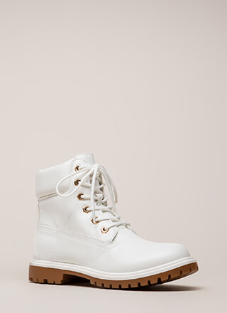 Work Ready Faux Leather Combat Boots