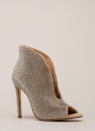 Sparkly Statement Jeweled Peep-Toe Heels