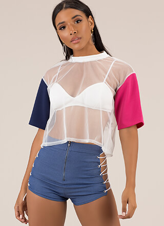 I Love You Bra Sheer Mesh Crop Top