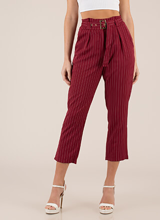 The Business Belted Pinstriped Trousers