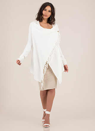 All Wrapped Up Fringed Poncho Sweater